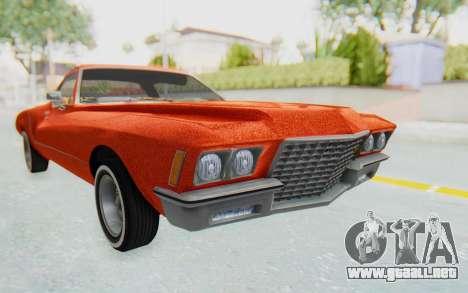 Buick Riviera 1972 Boattail Lowrider para la visión correcta GTA San Andreas