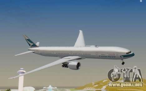 Boeing 777-300ER Cathay Pacific Airways v1 para GTA San Andreas vista posterior izquierda