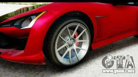 GTA 5 Lampadati Furore GT IVF para GTA San Andreas vista hacia atrás