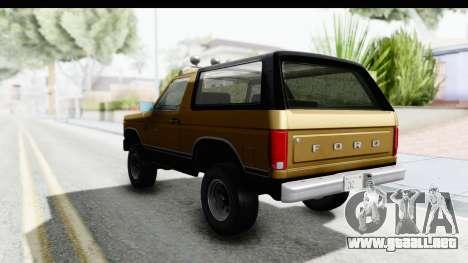 Ford Bronco 1980 Roof IVF para la visión correcta GTA San Andreas