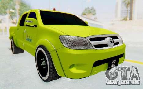 Toyota Hilux Malaysia Airports Green para la visión correcta GTA San Andreas