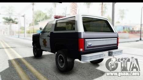 Ford Bronco 1982 Police para GTA San Andreas vista posterior izquierda