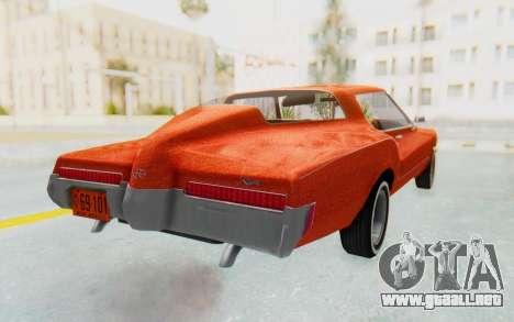 Buick Riviera 1972 Boattail Lowrider para GTA San Andreas vista posterior izquierda