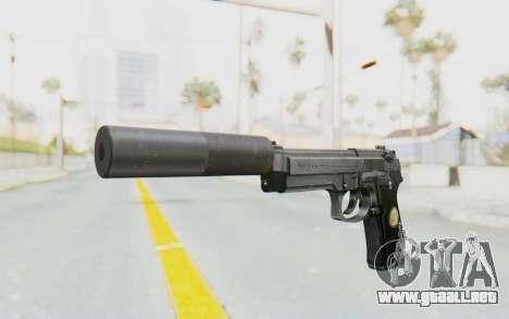 Tariq Iraqi Pistol Back v1 Silver Silenced para GTA San Andreas