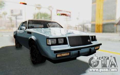 Buick GNX 1987 para la visión correcta GTA San Andreas