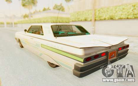 GTA 5 Declasse Voodoo Alternative v2 para las ruedas de GTA San Andreas