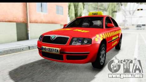 Skoda Superb Taxi De Color Rojo para la visión correcta GTA San Andreas