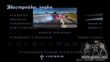New menu para GTA San Andreas octavo de pantalla