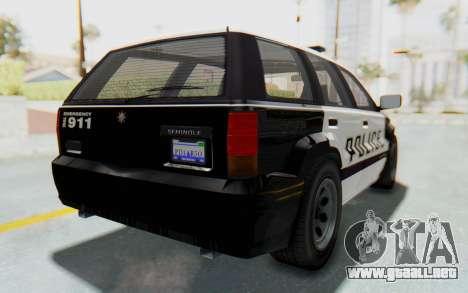 Canis Seminole Police Car para GTA San Andreas vista posterior izquierda