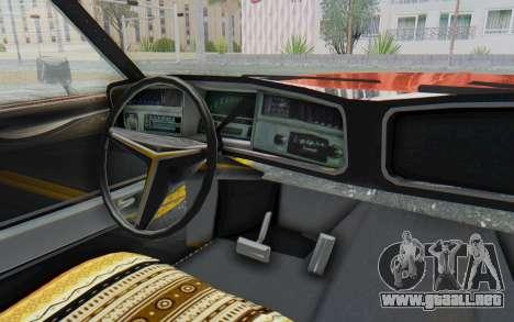 Buick Riviera 1972 Boattail Lowrider para visión interna GTA San Andreas