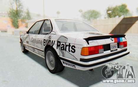 BMW M635 CSi (E24) 1984 HQLM PJ1 para la vista superior GTA San Andreas