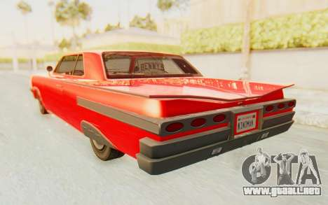 GTA 5 Declasse Voodoo Alternative v2 para GTA San Andreas vista posterior izquierda