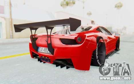 Ferrari 458 Liberty Walk para GTA San Andreas vista hacia atrás
