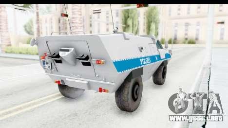 Hermelin TM170 Polizei para GTA San Andreas vista posterior izquierda