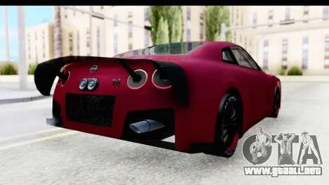 Nissan GT-R R35 Top Speed para GTA San Andreas vista posterior izquierda