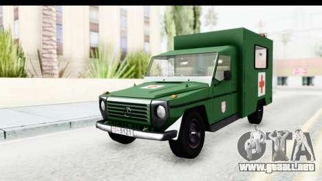 Mercedes-Benz Wolf Vojno Ambulantno Vozilo para la visión correcta GTA San Andreas
