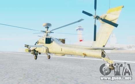 AH-64 Apache Marines para GTA San Andreas vista posterior izquierda