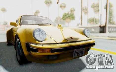 Porsche 911 Turbo 3.2 Coupe (930) 1985 para GTA San Andreas vista posterior izquierda