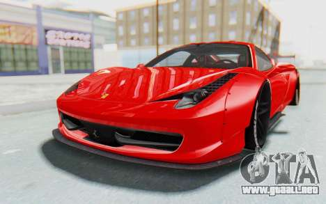 Ferrari 458 Liberty Walk para GTA San Andreas vista posterior izquierda