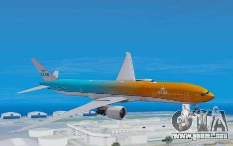 Boeing 777-300ER KLM - Royal Dutch Airlines v4 para GTA San Andreas vista posterior izquierda