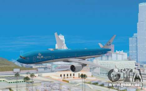 Boeing 777-300ER KLM - Royal Dutch Airlines v5 para GTA San Andreas vista posterior izquierda