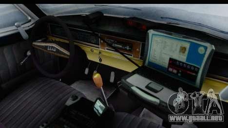 ГАЗ 24 de Policía de la Patrulla de la Carretera para visión interna GTA San Andreas