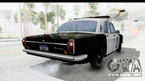 ГАЗ 24 de Policía de la Patrulla de la Carretera para GTA San Andreas vista posterior izquierda