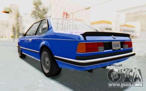 BMW M635 CSi (E24) 1984 HQLM PJ1 para GTA San Andreas vista posterior izquierda