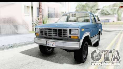 Ford Bronco 1980 para GTA San Andreas vista posterior izquierda