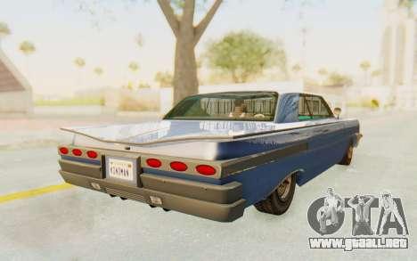 GTA 5 Declasse Voodoo Alternative v2 PJ para GTA San Andreas vista posterior izquierda