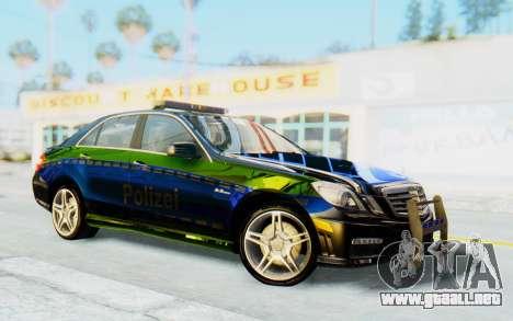 Mercedes-Benz E63 German Police Blue-Yellow para GTA San Andreas vista hacia atrás