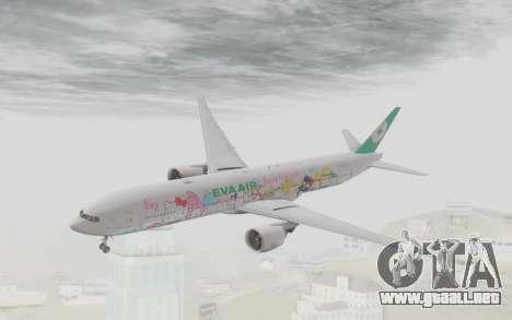 Boeing 777-300ER Eva Air v1 para GTA San Andreas vista posterior izquierda