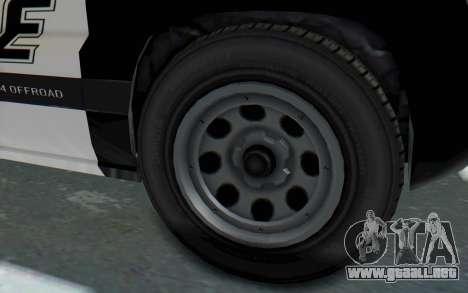 Canis Seminole Police Car para GTA San Andreas vista hacia atrás