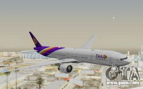 Boeing 777-300ER Thai International Airways para GTA San Andreas vista posterior izquierda