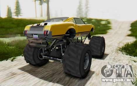 Declasse Sabre Turbo XL para GTA San Andreas vista posterior izquierda