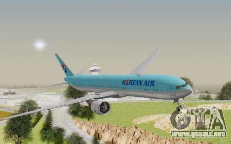 Boeing 777-300ER Korean Air para GTA San Andreas vista posterior izquierda