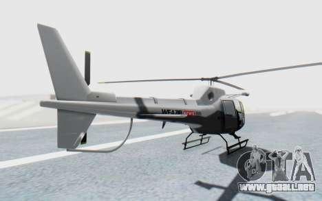 GTA 5 News Chopper Style Weazel News para GTA San Andreas vista posterior izquierda