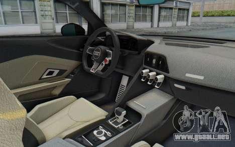 Audi R8 V10 Plus 2017 para GTA San Andreas vista hacia atrás