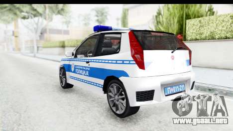 Fiat Punto Mk2 Policija para GTA San Andreas vista posterior izquierda