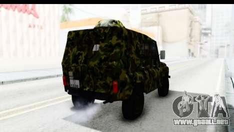 UAZ-469 de la policía Militar de Serbia para GTA San Andreas vista posterior izquierda