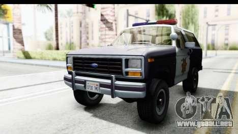 Ford Bronco 1982 Police para la visión correcta GTA San Andreas