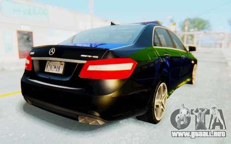 Mercedes-Benz E63 German Police Blue-Yellow para GTA San Andreas left