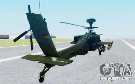 AH-64 Apache para GTA San Andreas vista posterior izquierda