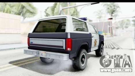 Ford Bronco 1982 Police para GTA San Andreas left