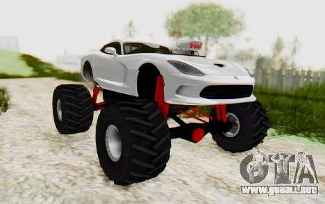 Dodge Viper SRT GTS 2012 Monster Truck para la visión correcta GTA San Andreas