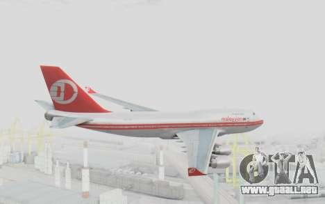 Boeing 747-200 Malaysia Airlines para la visión correcta GTA San Andreas