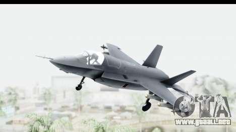 Lockheed Martin F-35B Lightning II para GTA San Andreas vista posterior izquierda