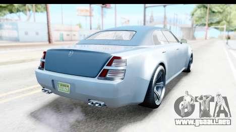 GTA 5 Enus Windsor Drop IVF para GTA San Andreas vista posterior izquierda