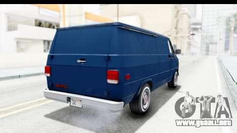 GMC Vandura 1985 White Stripes HQLM para GTA San Andreas vista posterior izquierda