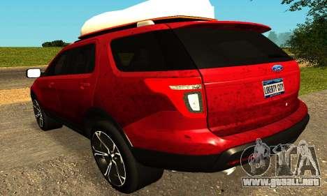 Ford Explorer 2013 para GTA San Andreas vista posterior izquierda